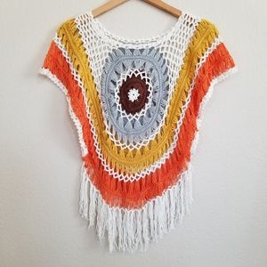 Handmade Festive Knitted Macrame Top Small